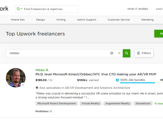 Dr. Mike's profile as the first hit on Upwork with a search string 'Orbbec'