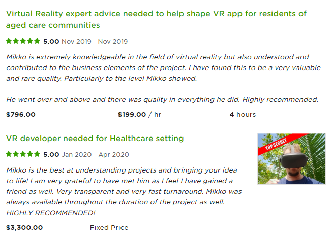 Great client feedback on Upwork for a project done for 199 USD per hour