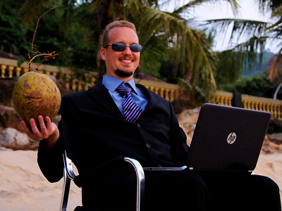 Dr. Mike on his coconut beach