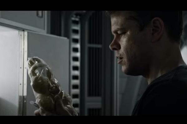 Matt Damon in The Martian looking at his last potatoes