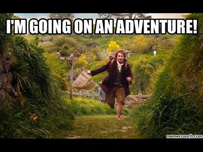 Bilbo Baggins going on an adventure
